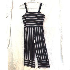 Navy white stripes romper onesie japna xs